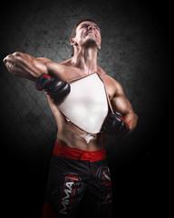 Portrait of a male boxer. Creative.