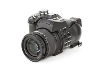 black digital camera in a white background