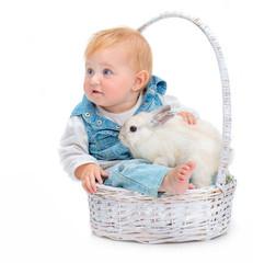 baby with rabbit