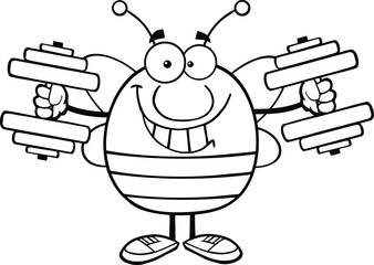 Black And White Pudgy Bee Character Training With Dumbbells