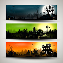 Set of three Halloween banners