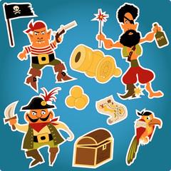 Cartoon pirates stickers