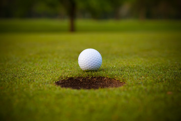 golf ball on lip of cup.
