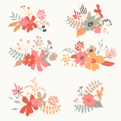 Set of six graphic floral design