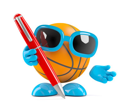 Basketball holds a pen