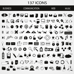 137 Business, Communication, Web and Music Icons