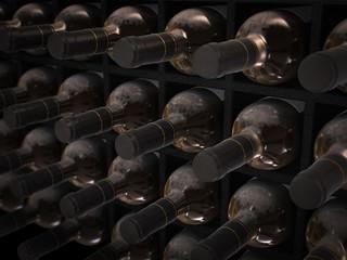 dusty wine bottles in wine cellar