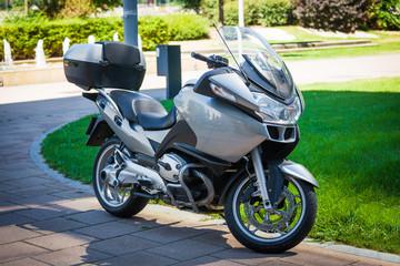 Modern motorbike parked