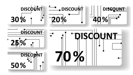 Circuit board discount cards, colorful digital Illustration.