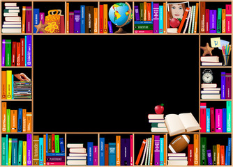 Wooden bookshelves. Vector background.