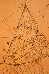 Old sketch from descriptive geometry