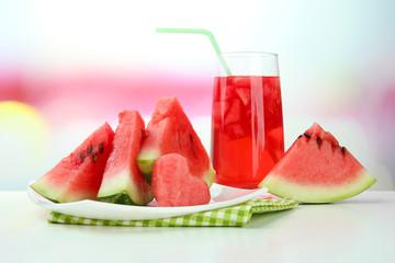 Fresh watermelon and glass of watermelon juice