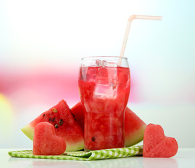 Fresh watermelon and glass of watermelon juice