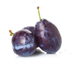 Group of plums isolated on a white background.