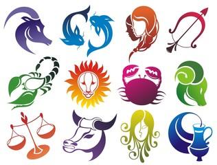 Set of Zodiac symbols. Isolated on white