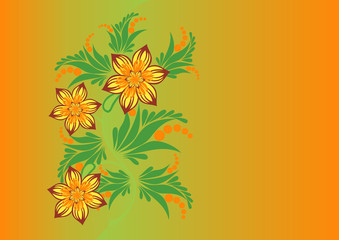 Illustration of abstract flowers with background