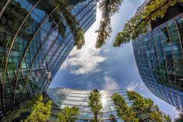 Sun Reflections on Modern Buildings in Berlin, Germany