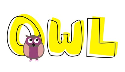 O is for owl - vector violet owl by hand drawn yellow word