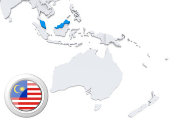 Map of Malaysia with national flag