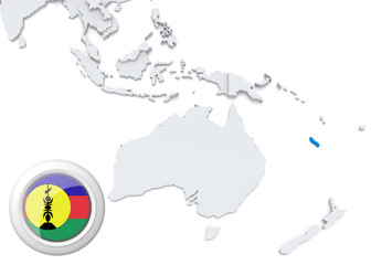 Map of New Caledonia with national flag