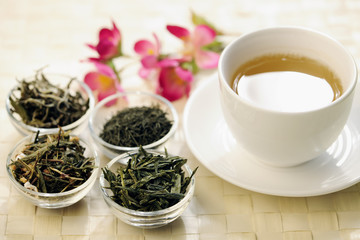 Different sorts of green tea and cup