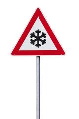 Verkehrsschild Schnee oder Eisglätte isoliert mit Pfad