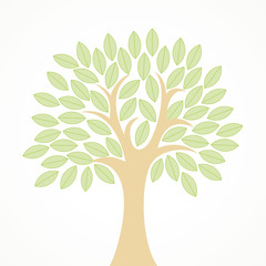 Stylized vector tree with green leaves stock vector