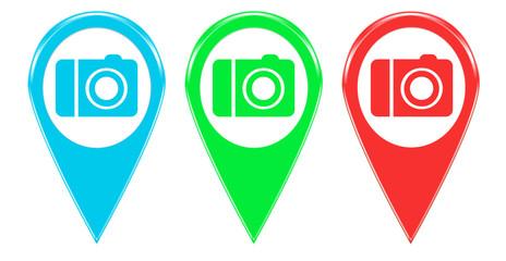 Iconos o marcadores de colores con símbolo de cámara de fotos