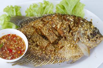 Deep fried red tilapia fish