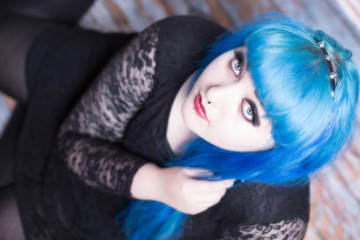 Young woman with blue hair