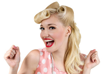 Smiling pin up blonde woman