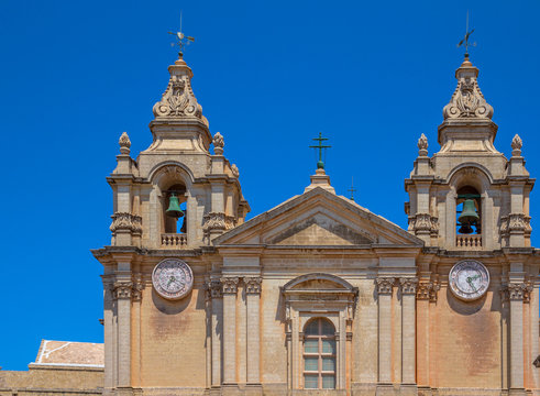 Detail of the St Paul's cathedral towers in Mdina in Malta