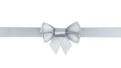 silver ribbon bow with tails border