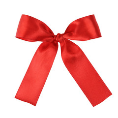 red festive tied bow made from ribbon