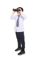 Business kid holding binoculars - vertical