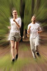 fast jogging couple