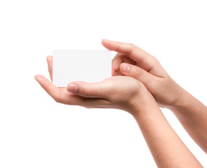 Women hand holding blank paper business card isolated on white b