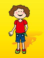 Little girl over yellow