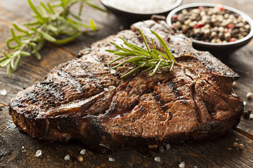 Aluminium Prints Steakhouse Grilled BBQ T-Bone Steak