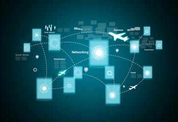 Wall Mural - Modern wireless technology and social network