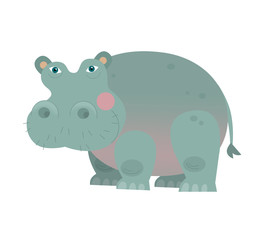 Cartoon hippo - isolated - illustration for the children