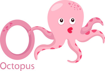 Illustrator of O with octopus