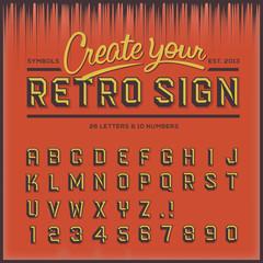 Retro type font, vintage typography, vector Eps10 illustration.