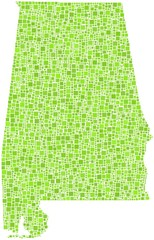 Map of Alabama - USA - in a mosaic of green squares