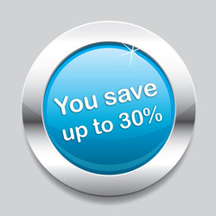 Blue button save 30 percent