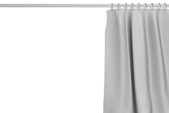 Duschvorhang mit Stange grau, Hintergrund weiß, 3D Illustration