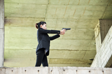 Beautiful Asian policewoman in action.