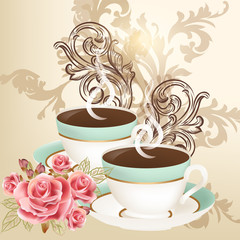 Cute vector background with cups of tea