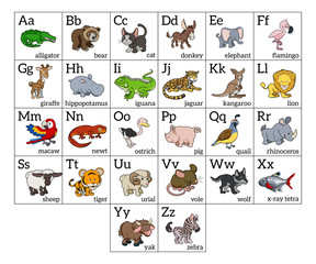 Cartoon Animal Alphabet Chart