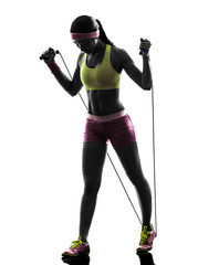 Wall Mural - woman exercising fitness jumping rope  silhouette